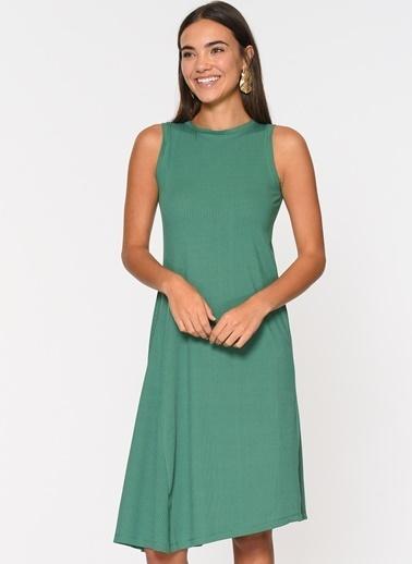 Loves You Kolsuz Asimetrik Elbise Yeşil